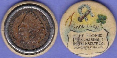 1903 Indian Head cent celluloid encased The Home Purchasing & Real Estate Co. Newcastle, PA