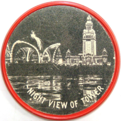 Pan American Expo vulcanite encased one cent image of the night view of the tower